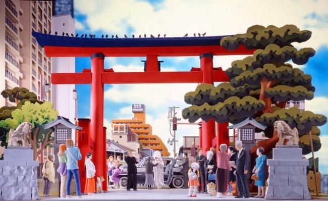 ペーパーアーティスト太田隆司「しあわせ待つ明日へ。新潟市 白山神社」