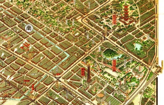 「大阪市パノラマ地図」1923年(大正12年)新世界・天王寺公園・四天王寺(初代通天閣と木造の五重塔)