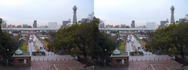 天王寺公園 新世界ゲート・通天閣(平行法)