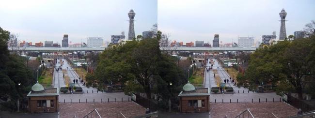 天王寺公園 新世界ゲート・通天閣(交差法)
