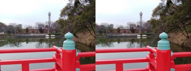 天王寺公園 和気橋からの通天閣(交差法)