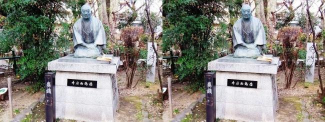 生國魂神社 井原西鶴像(交差法)