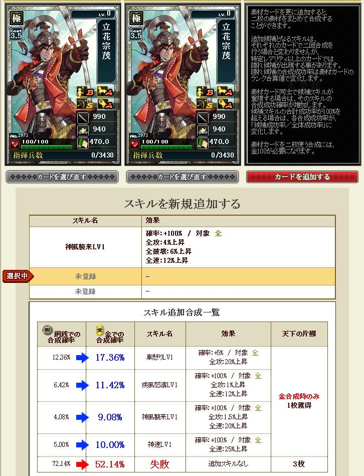 20161228102924カード合成 - スキル追加合成 - 戦国IXA