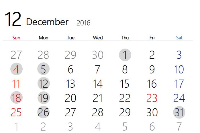 2016 12月カレンダー