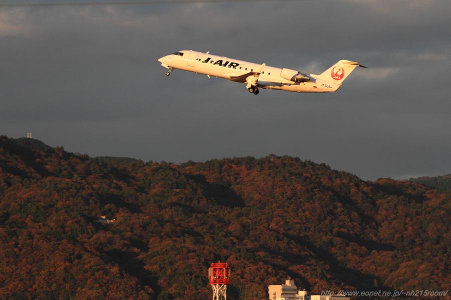 J-AIR CRJ-200ER / JA208J@RWY14Rエンド・伊丹リサイクルセンター周辺