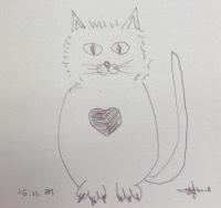 ありがとう、の猫絵かな?