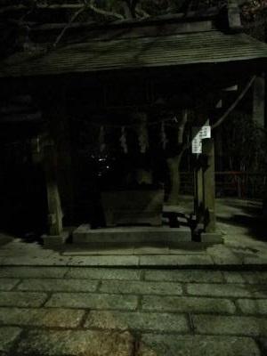 宇都宮 羽黒山 夜の手水舎 なんとこの海抜で湧水!
