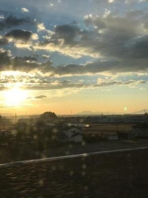 筑波山と朝日