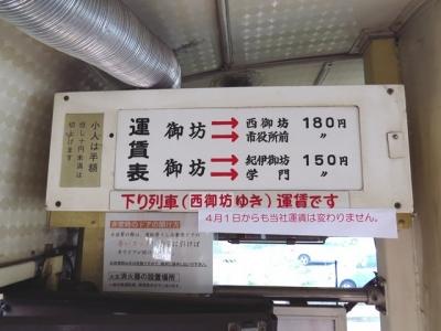 紀州鉄道運賃表