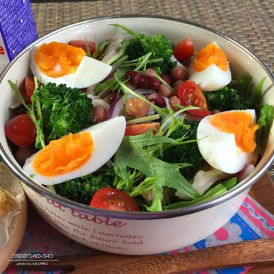 豆と蒸し鶏の野菜サラダ弁当02