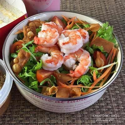 アジアン生姜ドレの海老サラダ弁当02