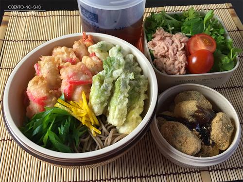 たらの芽の天ぷら蕎麦弁当01