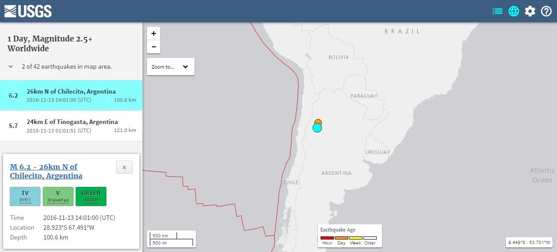 アルゼンチン北西部で「M6.2」と「M5.7」の地震が発生