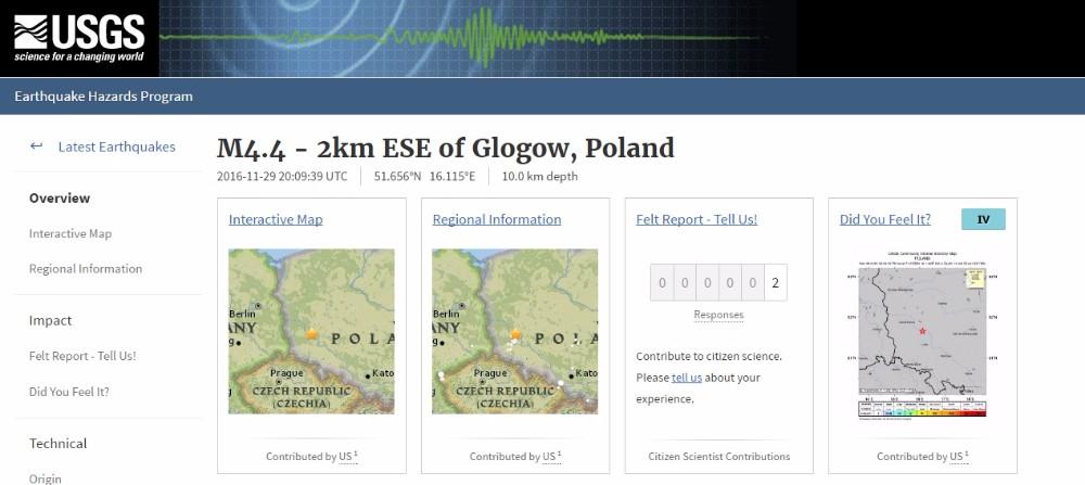 【珍しい】ポーランドでM4.4の地震発生 震源深さは約2km