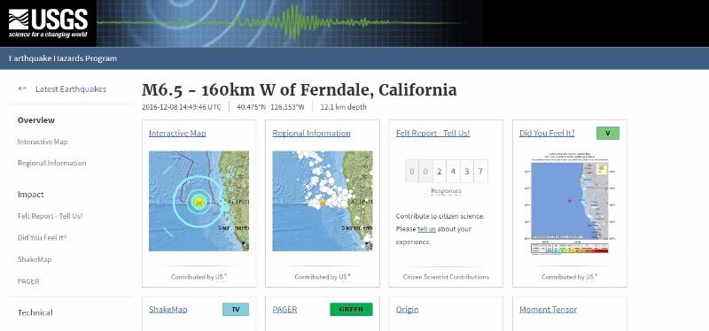 【アメリカ】カリフォルニア沖で「M6.5」の地震が発生