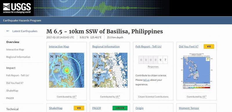 フィリピン・ミンダナオ島沖合付近で「M6.5」の地震発生