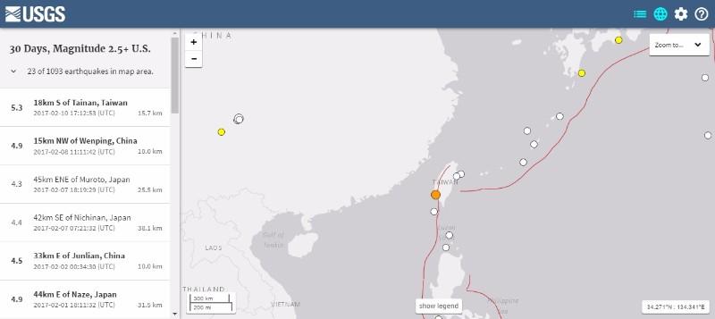 【M5.3】台湾南部で震度6級の地震発生…余震が相次ぐ