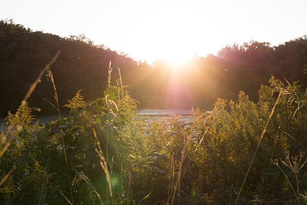 塚ノ杁池夕陽