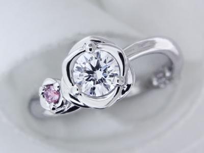 バラとネコの手☆オリジナルエンゲージリング(婚約指輪)