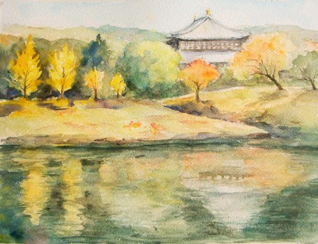 大仏池からの東大寺