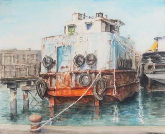 大阪南港のダルマ老船