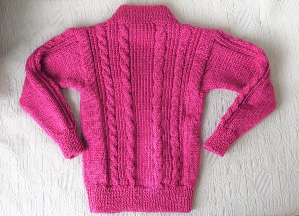 フーシャピンクのセーター背中側201612