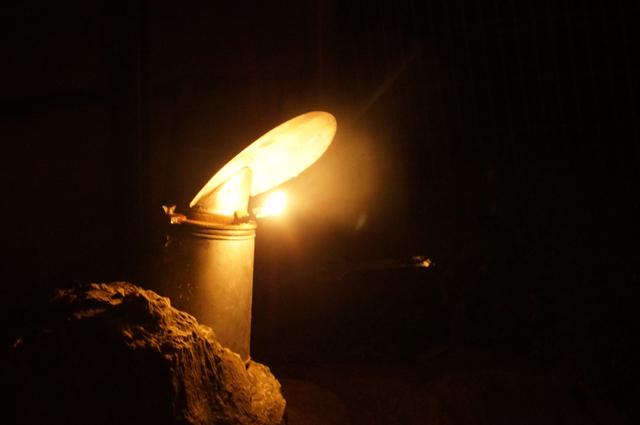 カーバイトランプの光