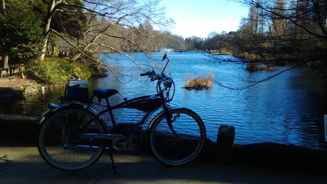 フキプランニングFK310LA3 バタバタ自転車・モペッドと井の頭公園の池