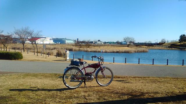 調布飛行場の横の公園とフキプランニングFK310LA3 バタバタ自転車・モペッド