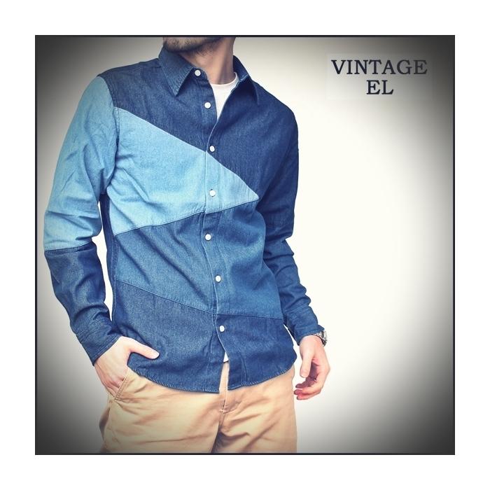 2017-02-13 デニムブロッキングシャツ ヴィンテージイーエル VINTAGE EL 1 ビンテージ