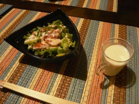 お寺:コース;豆乳、サラダ