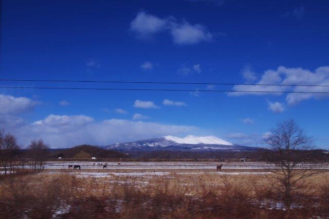 大沼公園駅付近 車窓からの風景 駒ヶ岳