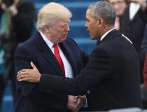 トランプ新大統領とオバマ元大統領(ロイター )