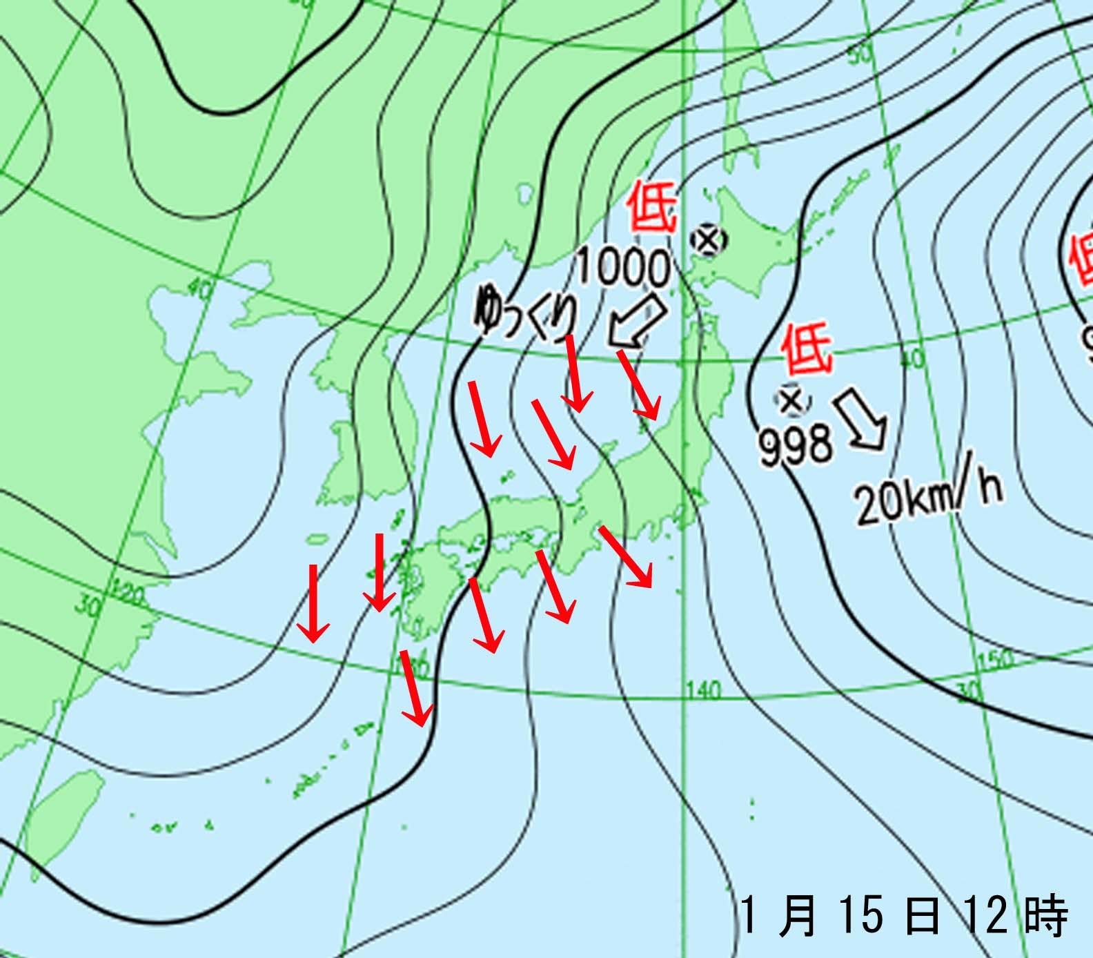 ■201701151200 地上天気図と風