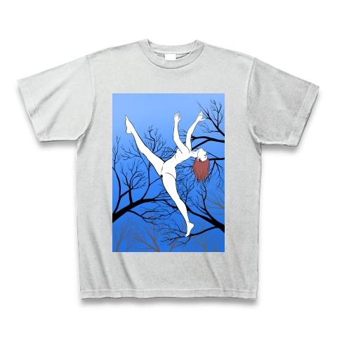 冬の森の木々とヌードの女性のイラスト Tシャツ
