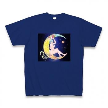 ウサギのリラックスタイム(月とバニーガール) Tシャツ