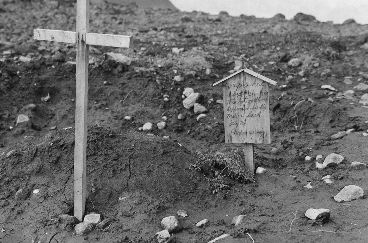 キスカ島に残された米空軍勇士の墓