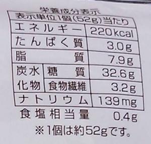 チョコグラノーラ栄養成分表示