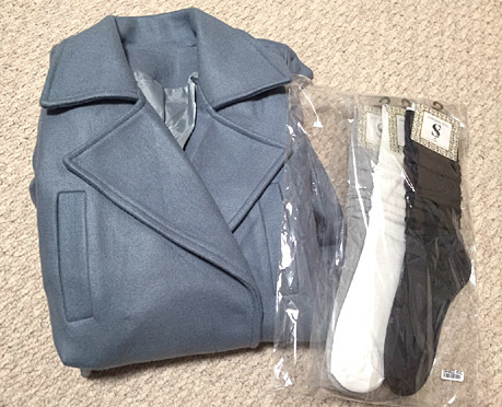 楽天にて。グレーブルーのコートを買いました。
