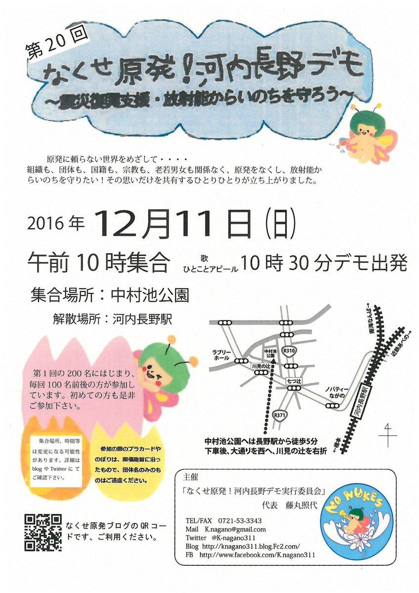 第20回「なくせ原発!河内長野デモ」チラシ