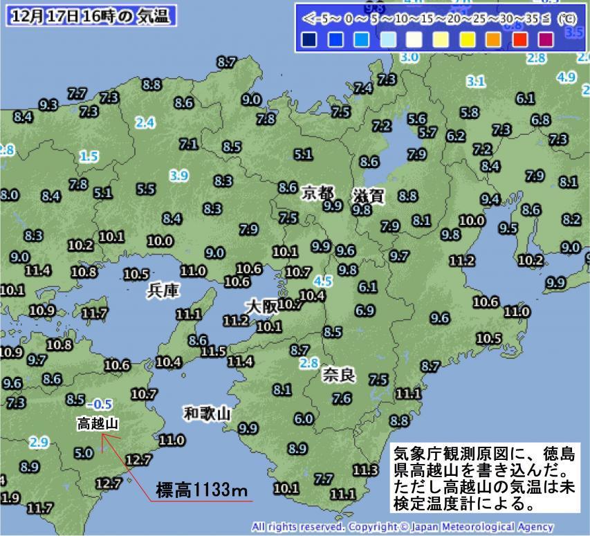 近畿圏の気温分布