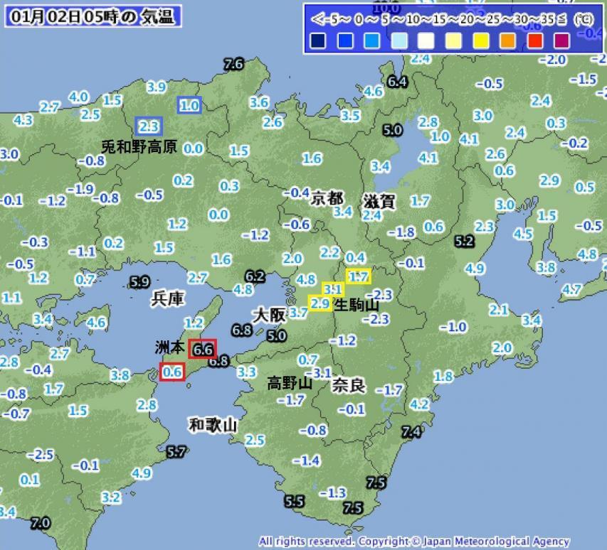 2017年1月2日05時の近畿地方の気温分布