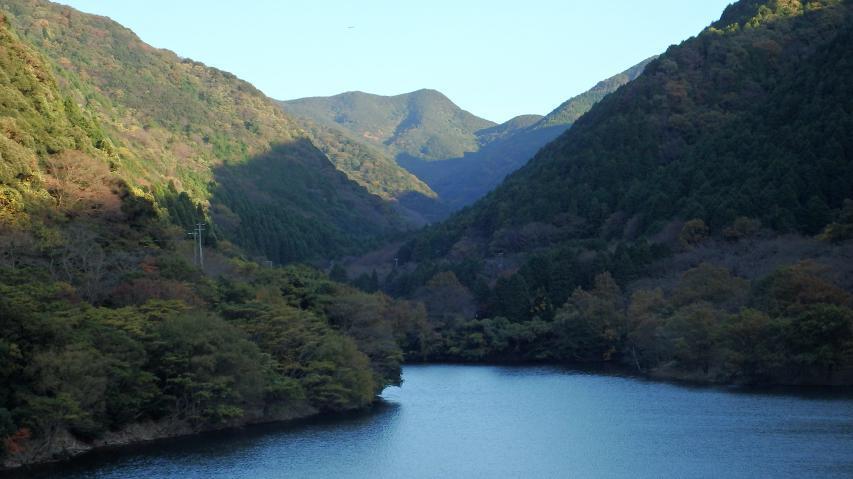 諭鶴池の奥の山