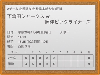 A 11/6 VS岡津