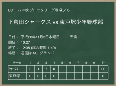 B 11/3 VS東戸塚