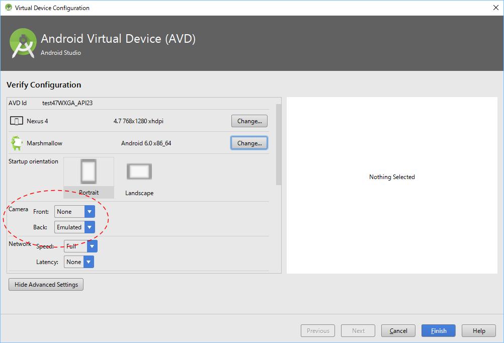 AVDmanagerで仮想デバイスにカメラの動作を設定する