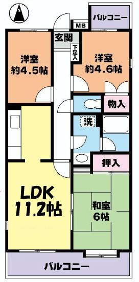 ■物件番号4796 辻堂駅14分!海側!3LDK!低層マンション!2階!お手頃9.2万円!敷地P有り!