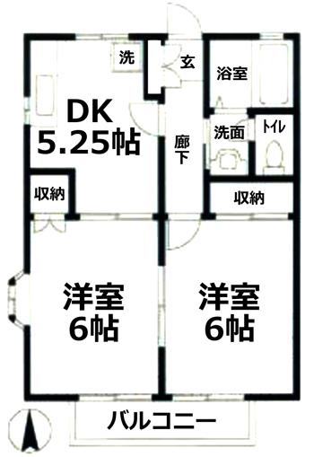 ■物件番号P4825 海3分!ペット可!ネコもOK!2DKタイプ!最上階カド!日当り良好!5.8万円!礼金ゼロ!