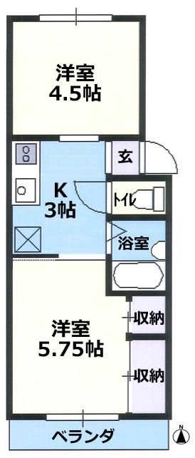 物件番号P4845 憧れの住宅街で広々2Kで1人暮らし!水廻りリフォーム済!海5分!ペット可!5.2万円!