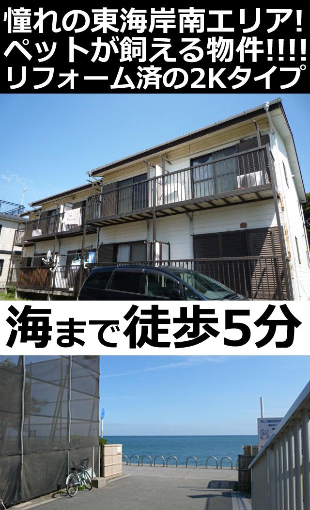 ■物件番号P4845 憧れの住宅街で広々2Kで1人暮らし!水廻りリフォーム済!海5分!ペット可!5.2万円!